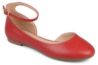 Co Brinley Women's Faux Leather Wide Width Ankle Strap Round Toe D'orsay Flats