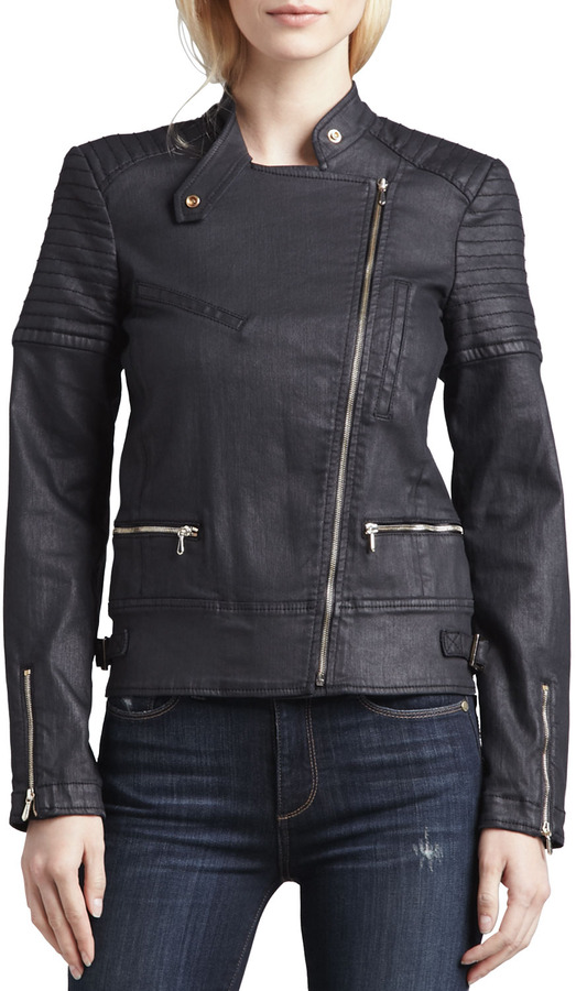 7 For All Mankind Coated Denim Motorcycle Jacket