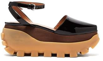 Marni Wooden Flatform Sandals - Womens - Black