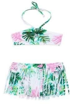 Pilyq Little Girl's& Girl's Embroidered Fringe Bikini