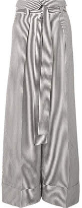 Haven Striped Silk-satin Wide-leg Pants - White