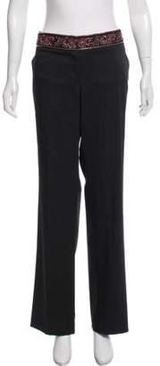 Neiman Marcus Embellished Wide-Leg Pants