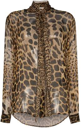 274cc3ae2485d Saint Laurent tie-neck leopard-print blouse