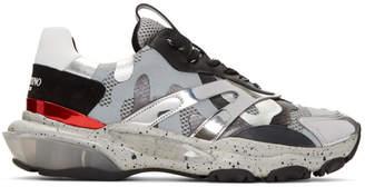 Valentino Silver Garavani Camo Bounce Sneakers