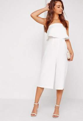 Missguided Crepe Double Layer Culotte Romper White