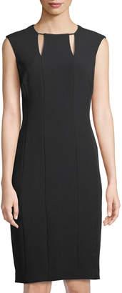 Tahari ASL Cutout-Neck Crepe Sheath Dress