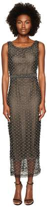 Marchesa Stretch Crepe Jewel Neck Gown w/ Beaded Illusion Back