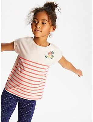 John Lewis & Partners Girls' Stripe Placement T-Shirt, Pink