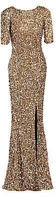 Rachel Gilbert Women's Zowie Short-Sleeve Sequin Gown