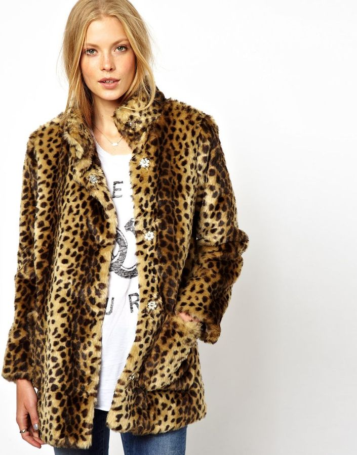 Asos Longline Animal Faux Fur Coat. - Brown