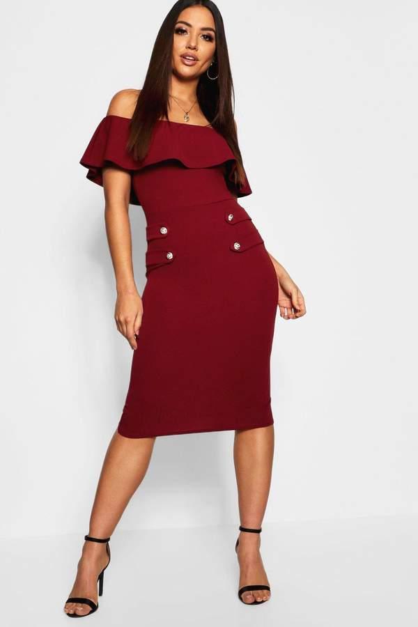 Off The Shoulder Button Detail Midi Dress