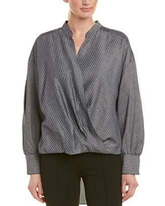 BCBGMAXAZRIA Women's Metallic Striped Faux Wrap Shirt Shirt
