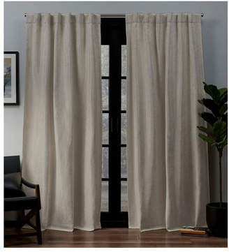 "Exclusive Home Lancaster Basket Weave Woven Blackout Hidden Tab Top 52"" X 96"" Curtain Panel Pair"