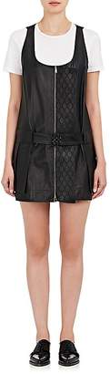 Paco Rabanne WOMEN'S PLEATED LEATHER ZIP-FRONT DRESS