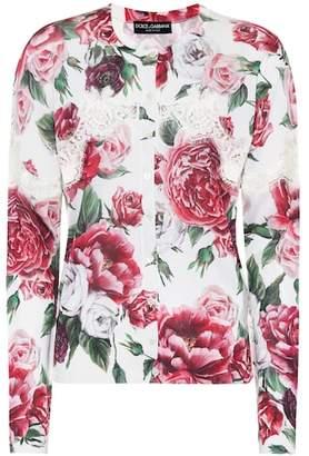 Dolce & Gabbana Silk-blend cardigan with lace