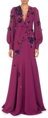 Andrew Gn Deep-V Long-Sleeve A-Line Evening Gown with Scattered Floral Appliques