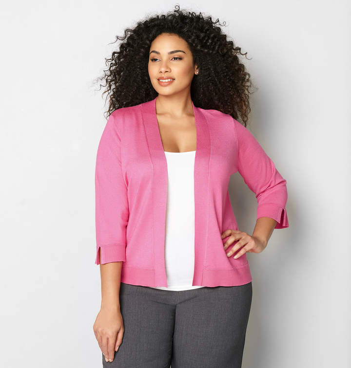 Avenue Ribbed Trim Crop Cardigan