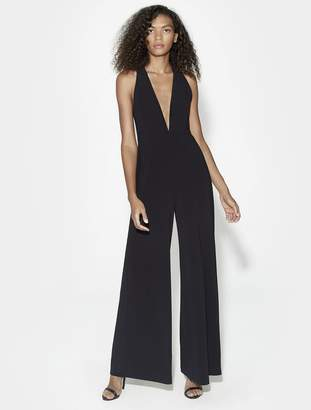 Halston SLEEVELESS HALTER NECK JUMPSUIT WITH STRAPPY BACK