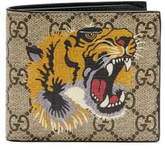 Gucci - Gg Supreme Tiger Print Canvas Wallet - Mens - Brown Multi