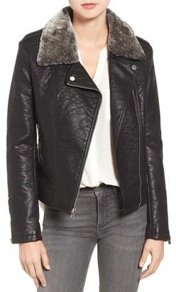 Women's Rachel Roy Faux Leather Jacket With Faux Fur Trim $168 thestylecure.com