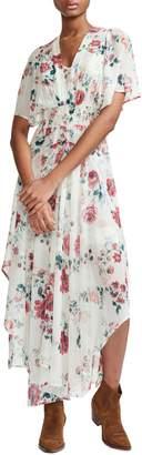 Maje Rachelle Asymmetrical Hem Floral Print Maxi Dress
