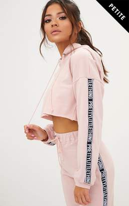 PrettyLittleThing Petite White Cropped Hoodie