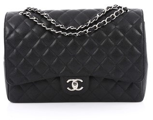Chanel Pre-owned: Classic Double Flap Bag Quilted Caviar Maxi.