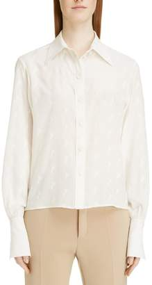 Chloé Horse Embroidered Crepe de Chine Shirt