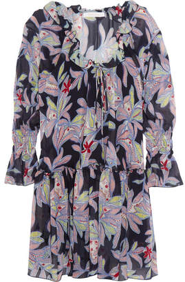 See by Chloé - Ruffled Floral-print Silk-crepe Dress - Navy $565 thestylecure.com