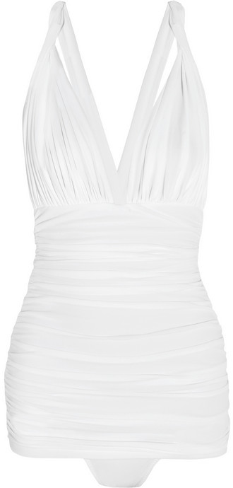 Norma Kamali Slip Bill ruched plunge-front swimsuit