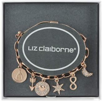 Liz Claiborne Clear Rose Tone Charm Bracelet