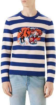 Gucci Stripe Tiger Wool Crewneck Sweater
