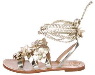 Tory Burch Floral Leather Sandals