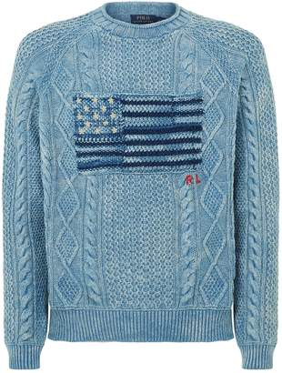 Polo Ralph Lauren American Flag Cable Knit Sweater