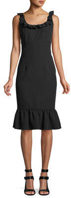 Nanette Lepore Nanette Ruffle-Trim Sleeveless Sheath Dress