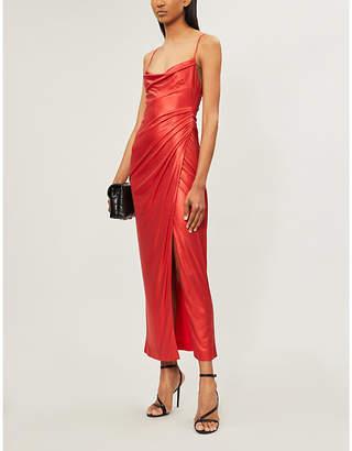 Galvan Mars draped sleeveless satin maxi dress