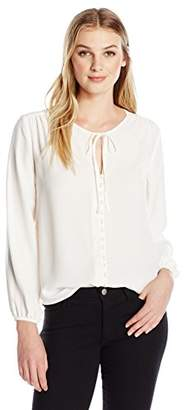 Lark & Ro Women's Long Sleeve Tie-Front Blouse with Button Placket