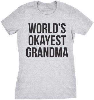 Crazy Dog T-shirts Crazy Dog Tshirts Womens World's Okayest Grandma T Shirt Cute Grandparents Tee XL