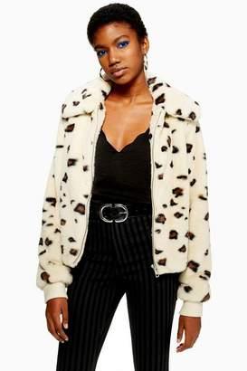 Topshop Animal Faux Fur Jacket