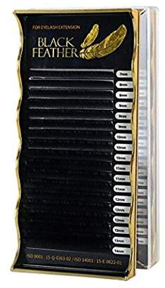 Sky Eyelash Extension Black Feather Silk Lash C Curl 7~14mm 8 Sizes in 1 Mixed Tray