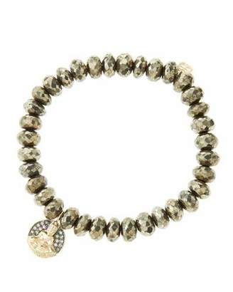 Sydney Evan 8mm Faceted Champagne Pyrite Beaded Bracelet with 14k Gold/Diamond Sitting Buddha Charm