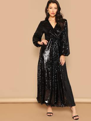 4663d7d841 Shein Surplice Wrap Prom Maxi Sequin Dress