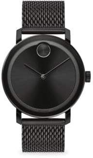 Movado Bold Round Ionic-Plated Black Steel Bracelet Watch - Black