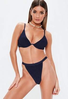 Missguided Navy Crinkle Mix And Match Underwire U Bikini Top