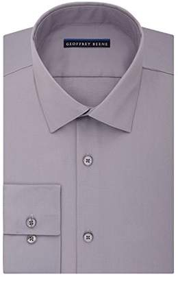 Geoffrey Beene Men's Sateen Fitted Solid Spread Collar Dress Shirt