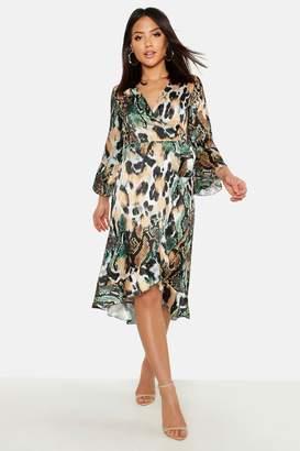 boohoo Mixed Animal Ruffle Midaxi Dress