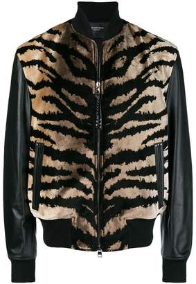 Alexander McQueen animal print leather jacket