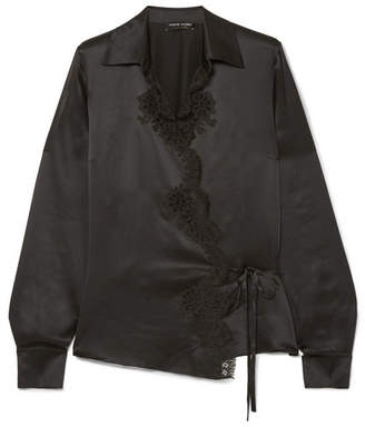 Carine Gilson Cachecoeur Chantilly Lace-trimmed Silk-satin Wrap Shirt - Black