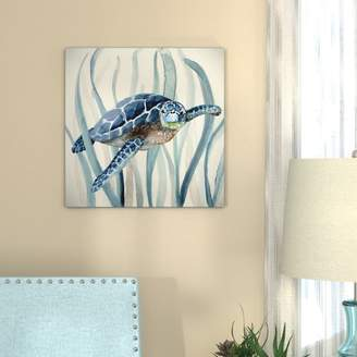 Bay Isle Home 'Turtle in Seagrass I' Oil Painting Print on Wrapped Canvas