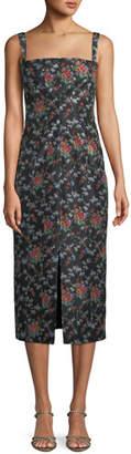 Brock Collection Sleeveless Square-Neck Rose-Print Silk Sheath Dress
